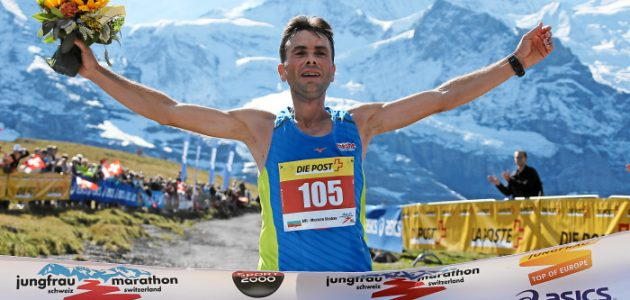 INTERLAKEN, 12SEP15 - Mustafa Shaban (BUL) gewinnt den 23. Jungfrau Marathon am 12. September 2015 auf der Kleinen Scheidegg. Impression of the 23rd Jungfrau Marathon in Interlaken, Switzerland, on Saturday, September12, 2015.  swiss-image.ch/Photo Remy Steinegger